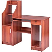 Computer Desk With Sliding Keyboard Tray Lockable Drawer Shelves Bookshelf Storage Cabinet Laptop Notebook PC Full-Size Workstation Study Writing Spacious Work Station Table Home Office Furniture