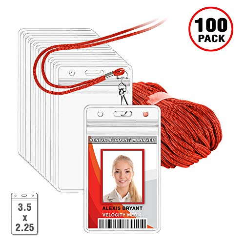 MIFFLIN Lanyard with Vertical ID Holder (Liberty Red Non-Breakaway Cord, 3.5x2.25 inch Card Holder, 100 Pack)