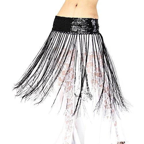 ESHOO Ladies Dancing Costume Oriental Belly Dance Hip Skirt Scarf Wrap sequins Fringe Tassel