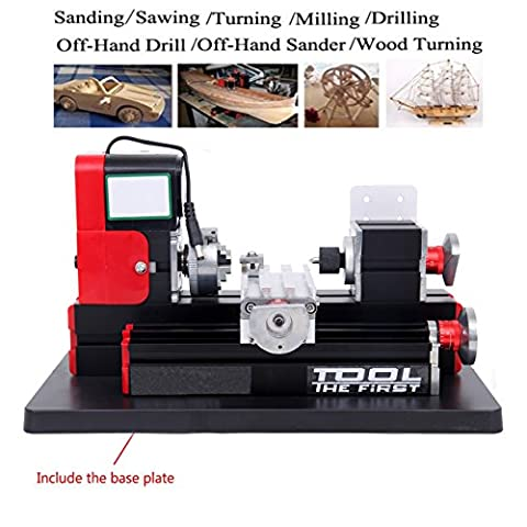 Ridgeyard 24W 20000rpm Mini Motorized Metal Working Lathe Machine DIY Woodworking Tool for Hobby Science Education (Commercial Wood Lathe)