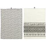 IKEA 2パックディッシュタオル、ホワイト、ブラック
