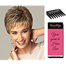 Virtue Wig Color Dark Blonde Gabor Women's Wigs Short Textured Boy Cut Feathered Bangs Heat Friendly Comfort Cap Bundle with Comb, MaxWigs Hair Loss Booklet