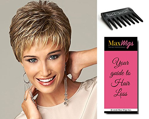 Virtue Wig Color BROWN/BLONDE Gabor Women's Wigs Short Textured Boy Cut Feathered Bangs Heat Friendly Comfort Cap Bundle with Comb, MaxWigs Hair Loss Booklet -