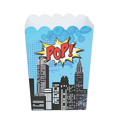 Mini Superhero Theme Birthday Party Popcorn Favor Boxes (10 Count) - Red Yellow & Blue Super Hero Colors (Super Hero Themes)