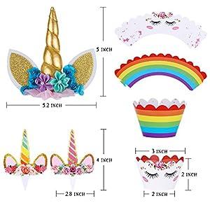 Unicorn Cake Topper with Eyelashes and Unicorn Cupcake Toppers & Wrappers Set – Unicorn Party Decorations Kit for Birthday Party, Baby Shower and Wedding