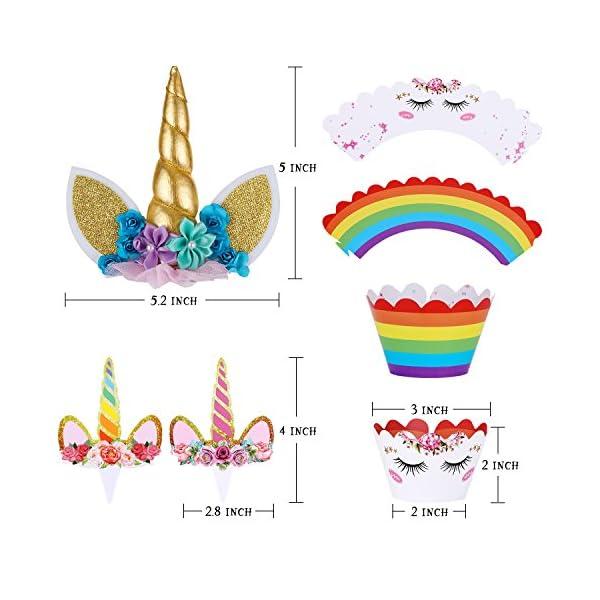 Unicorn Cake Topper with Eyelashes and Unicorn Cupcake Toppers & Wrappers Set - Unicorn Party Decorations Kit for… 4