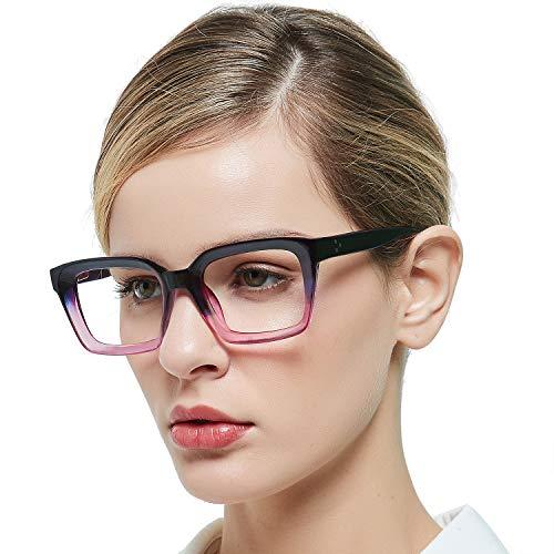 MARE AZZURO Blue Light Blocking Eyewear Women Computer Eyeglasses Oversized Glasses Frame Non Prescription (Purple 0)
