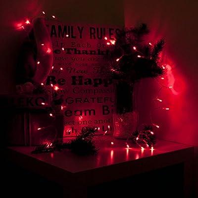 Aleko B30LEDRED 30 LED 10' Battery Operated String Christmas Lights, Red