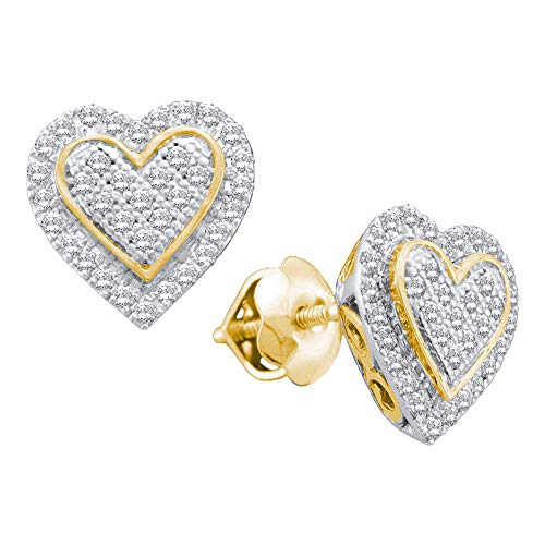The Diamond Deal 10kt Yellow Gold Womens Round Diamond Heart Cluster Stud Earrings 1/4 Cttw ()