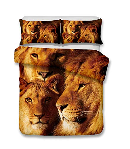 3D Lions Print Bedding Set