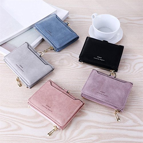7851f788635 DORIC Womens Simple Vintage Letters Short Wallet Coin Purse Card ...