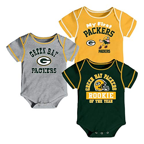 Outerstuff NFL Newborn Infants Newest Fan 3 Piece Creeper Bodysuit Set (3/6 Months, Green Bay Packers) - Green Packers Bay Piece 3