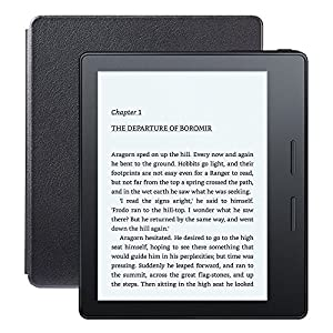 """Kindle Oasis E-reader with Leather Charging Cover - Black, 6"""" High-Resolution Display (300 ppi), Wi-Fi - Includes Special Offers (Previous Generation - 8th)"""