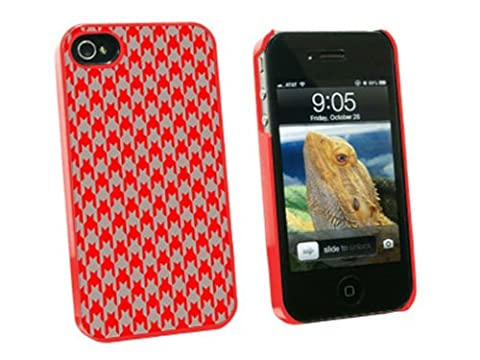 Graphics and More Preppy Houndstooth Red Gray Snap-On Hard Protective Case for Apple iPhone 4/4S - Non-Retail Packaging - (Iphone 4 Case Preppy)