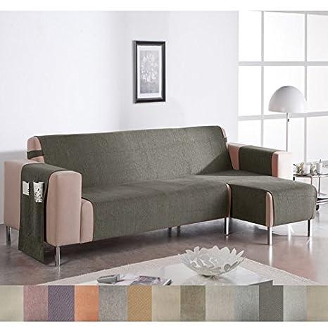Cubre Sofá Chaise Longue Modelo Wanda, Color Marfil-6, Medida Brazo IZQUIERDO – 240cm (Mirándolo de frente)