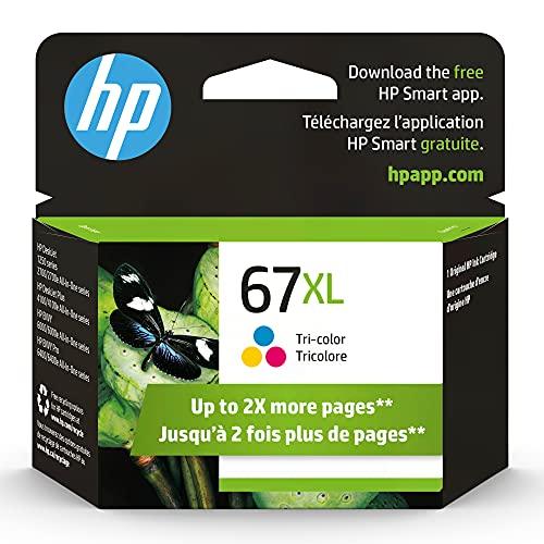 HP 67XL | Cartucho de tinta | Tricolor | Funciona con HP ENVY 6000 Series, HP ENVY Pro 6400 Series, HP DeskJet 1255, 2700 Series, DeskJet Plus 4100 Series | 3YM58AN