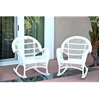 Jeco W00209-R_2 Wicker Rocker Chair, Set of 2, White