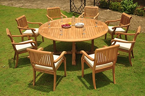 Restaurant Grade Furniture : Grade a teak wood dining set seater pc quot round