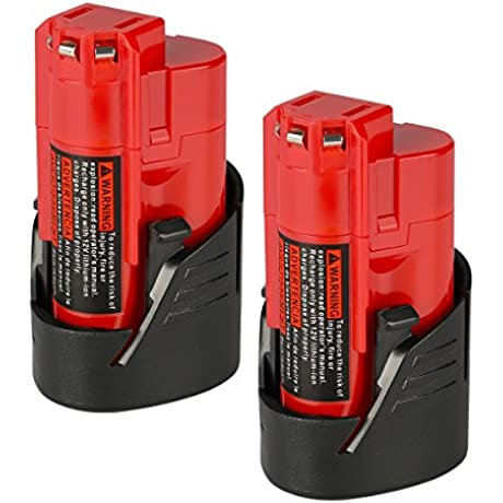 ANTRobut 2 Pack 12V M12 2000mAh 48 11 2411 Replacement Battery For Milwaukee M12 48 11 2410 12V Cordless Milwaukee Tools Milwaukee M12 12 Volt Redlithium Battery