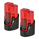 ANTRobut 2 Pack 12V M12 2000mAh 48-11-2411 Replacement Battery for Milwaukee M12 48-11-2410 12V Cordless Milwaukee Tools Milwaukee M12 12 volt Redlithium Battery