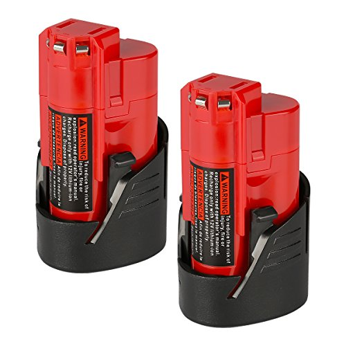 (ANTRobut Upgraded 12V 2500mAh M12 48-11-2410 Lithium Replacement Battery for Milwaukee M12 Milwaukee 48-11-2420 48-11-2411 48-11-2401 48-11-2402 Milwaukee Tools Milwaukee 12V Battery (2 Pack))