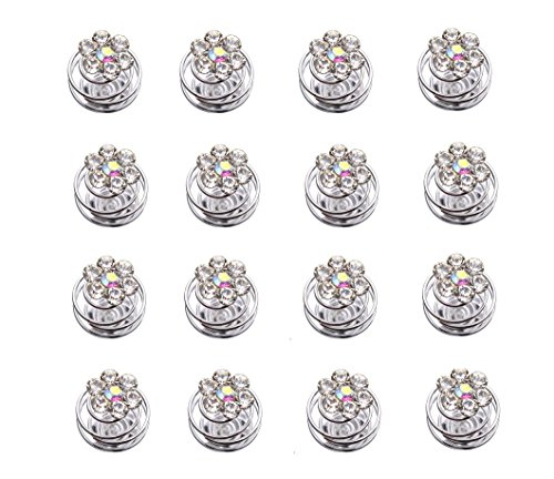 AlphaAcc 20pcs Clear Crystal Swirl Hair Twists Coils Spirals Hair Pin Clip Accessories-Crystal Diamond