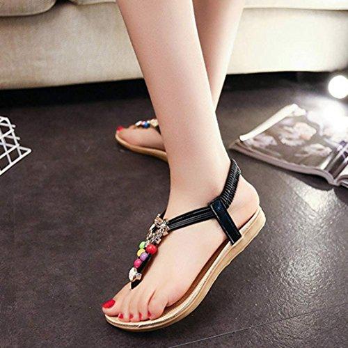 Inkach® Mujer Summer Bohemia Con Cuentas Sandalias Con Cordones Clip Toe Flat Beach Zapatos Negro