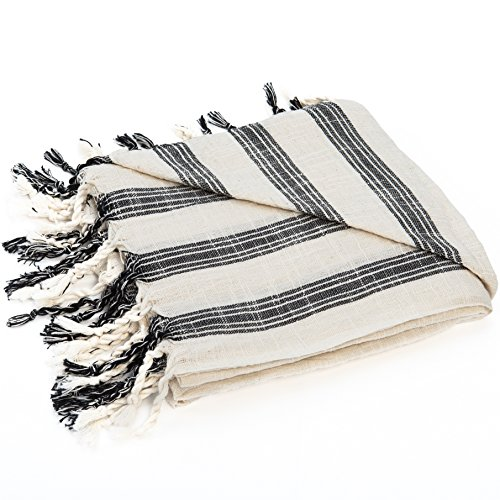 Black White Bath Towels (Turkish Beach Towel, 1x2m Large, Handwoven Artisan Hamam Peshtemal, Lightweight and Quick Drying - 100% Cotton, Bath Yoga Sports or Camping suitable - Black and White Stripes)