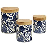 Certified International Blue Indigo 3pc Canister Set with Wooden Lids