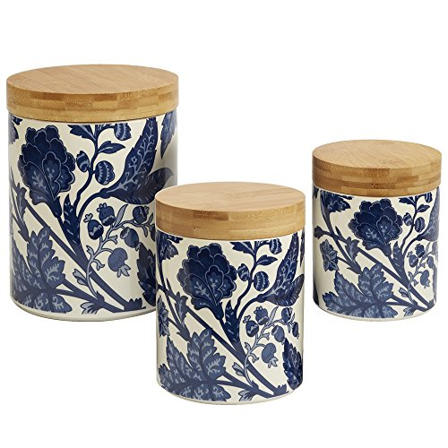 Certified International Blue Indigo 3pc Canister Set with Wooden Lids from Certified International