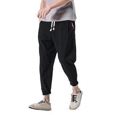 Pantalones De Harén De Los Vintage De Hombres De Moda Color Sólido ...
