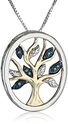 Diamond Tree of Life Pendant Necklace Sterling Silver and 14k Yellow Gold
