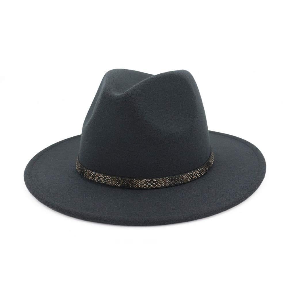 BaZhuaYu  Men & Women's Wide Brim Fedora Hat with Band Unisex Felt Panama Cap D-Grey M (Head Circumference 22''-22.8'')