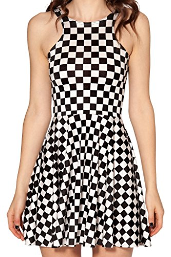 Sister Amy Women's Galaxy Printed Elastic Sleeveless Shaping Camisole Skater Black/White Plaids US XXL