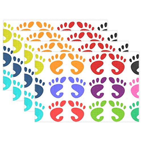 YPink Feet Foot Prints Patterns Designs Human Body 313425 Placemats Set of 4 Heat Insulation Stain Resistant for Dining Table Durable Non-Slip Kitchen Table Place Mats
