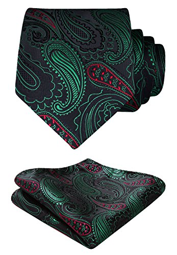 HISDERN Paisley Floral Wedding Tie Handkerchief Woven Classic Men's Necktie & Pocket Square Set Green & Red