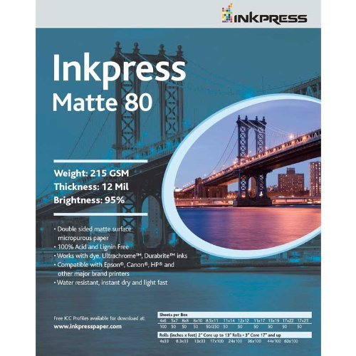 Inkpress Commercial Duo - Inkpress PP80851150 Commercial Duo Matte 80 Inkjet Paper New Stock 8.5in. X 11in. 50 Sheets