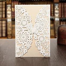 KAZIPA 25PCS Laser Cut Invitations, 4.7''x 7'' Wedding Invitations + Blank Paper + Envelopes for Wedding Bridal Shower Anniversary Birthday Party, White+Ivory