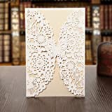 KAZIPA 25 Pack Set Laser Cut Invitation Cards, Lace Invitation Kit for Wedding Anniversary Bridal Shower Birthday with Printable Paper and Envelopes(White+Ivory)