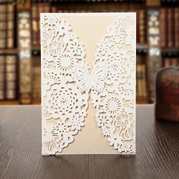 Amazon anself 20pcs lace wedding invitation card for bridal kazipa 25 pack set laser cut invitation cards lace invitation kit for wedding anniversary bridal stopboris Choice Image