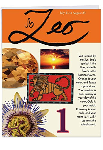 (Big Happy Birthday Card - Leo Zodiac Sign Gift Featuring Famous People, Personality, Motto, Birth Stone, Symbol, Planet, Color, Flowers and Dates 8.5 x 11 Inch J9446)