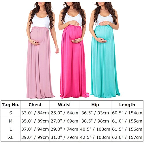 FYMNSI Women Maternity Color Block Tank Dress Ruched Sleeveless Long Maxi Dress Pregnant Photography Baby Shower Gown at Amazon Womens Clothing store: