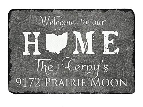 Welcome Personalized Slate - Sassy Squirrel Handcrafted and Personalized Slate House Sign - Welcome to Our Home State Sign (12