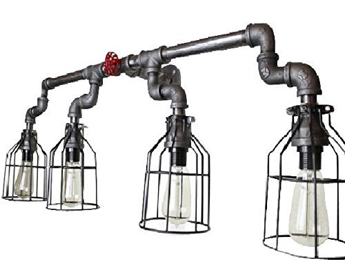 Wall Sconce Industrial Lighting w/ Cages, Black Pipe Bathroom vanity light fixture, vintage Edison Light bulbs, Electric wall sconce lighting