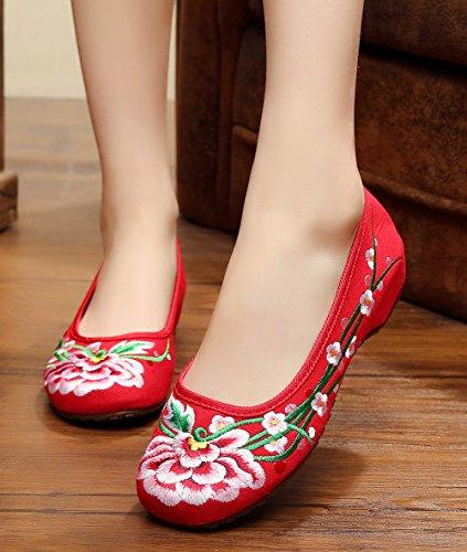 Scarpe Con Ricamo Fiore Avacostume Suola In Gomma Casual Slip On Shoes Per Donna Rosso