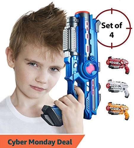 Laser Tag Guns Set – 4 Pack Multiplayer Laser Tag Gun, No Vest Needed – Indoor & Outdoor Group Fun – Safe Infrared Lazer Toy Blasters for Kids with Vibrations, Sound Effects, Lights by ThrillZon