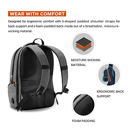 LEVEL8 Travel Laptop Backpack Extra Large Bussiness Bag with USB Charging Port Fits 17 Inch Notebook (Grey-USB)