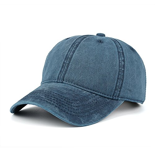 WINCAN Vintage Washed Dyed Cotton Twill Low Profile Adjustable Baseball Cap Denim 6 Panel Stitch Baseball Hat (Navy (Blue Baseball Hat Cap)