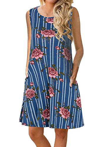 Manydress Women's Summer Casual Sleeveless Dress Floral Printed Swing Dress T-Shirt Dress Sundress with Pockets MY028 (Blue Stripe Rose, XS)