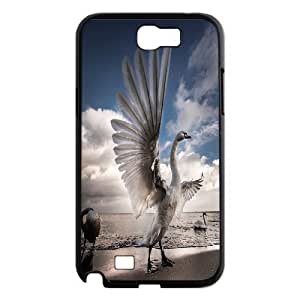 Jumphigh with Open Wings of the Swan Samsung Galaxy Note 2 Case, [Black]